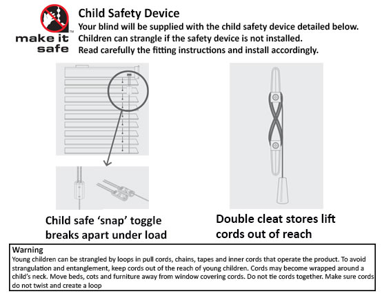 child safe components for wooden blind