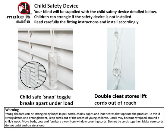 child safe components for venetian blind
